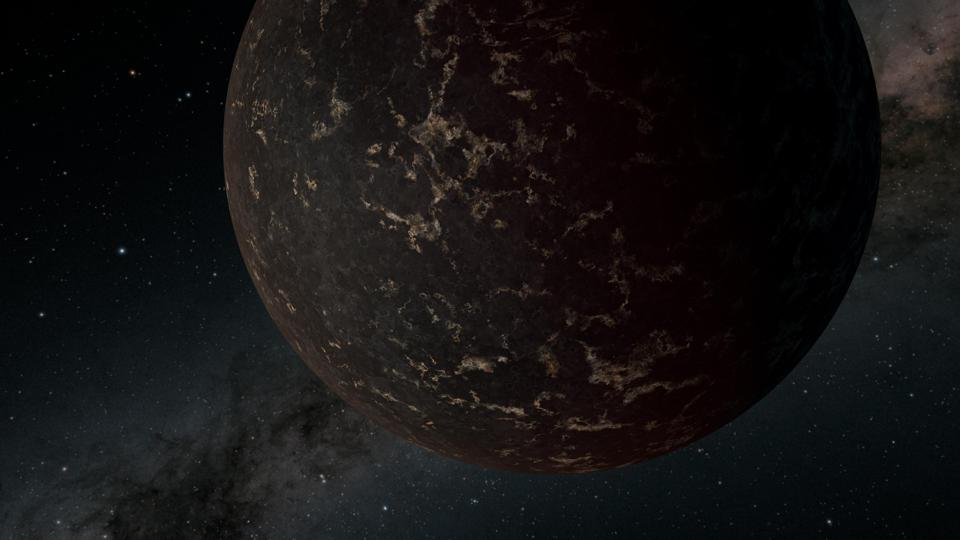 This artist's illustration depicts the exoplanet LHS 3844b, which is 1.3 times the mass of Earth and orbits an M dwarf star. The planet has no apparent atmosphere, and its surface may be covered mostly in dark lava rock, according to observations by NASA's Spitzer Space Telescope.