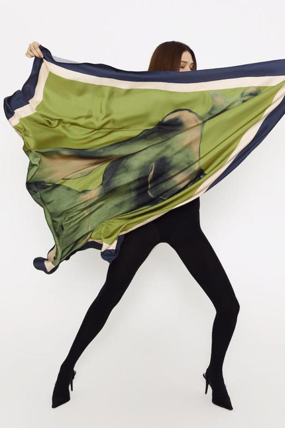 Satin silk scarf from LESSLESS ROBES