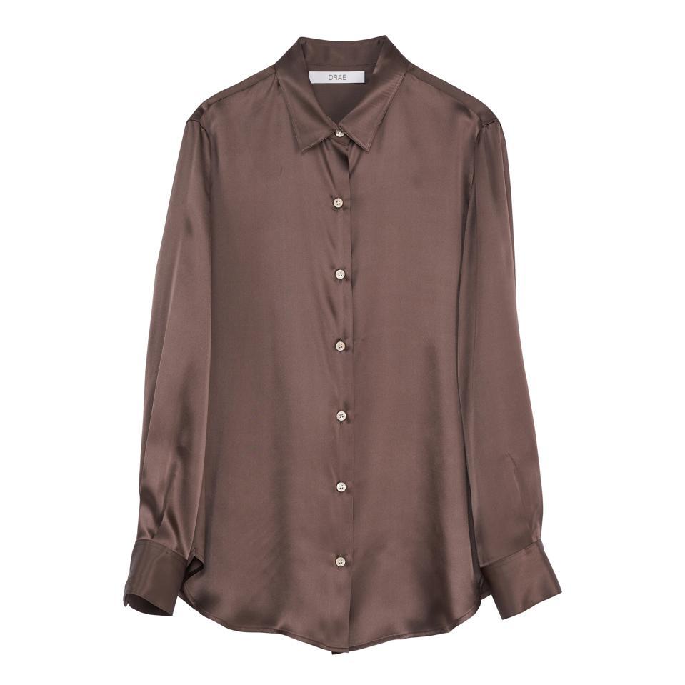 Brown silk shirt by DRAE