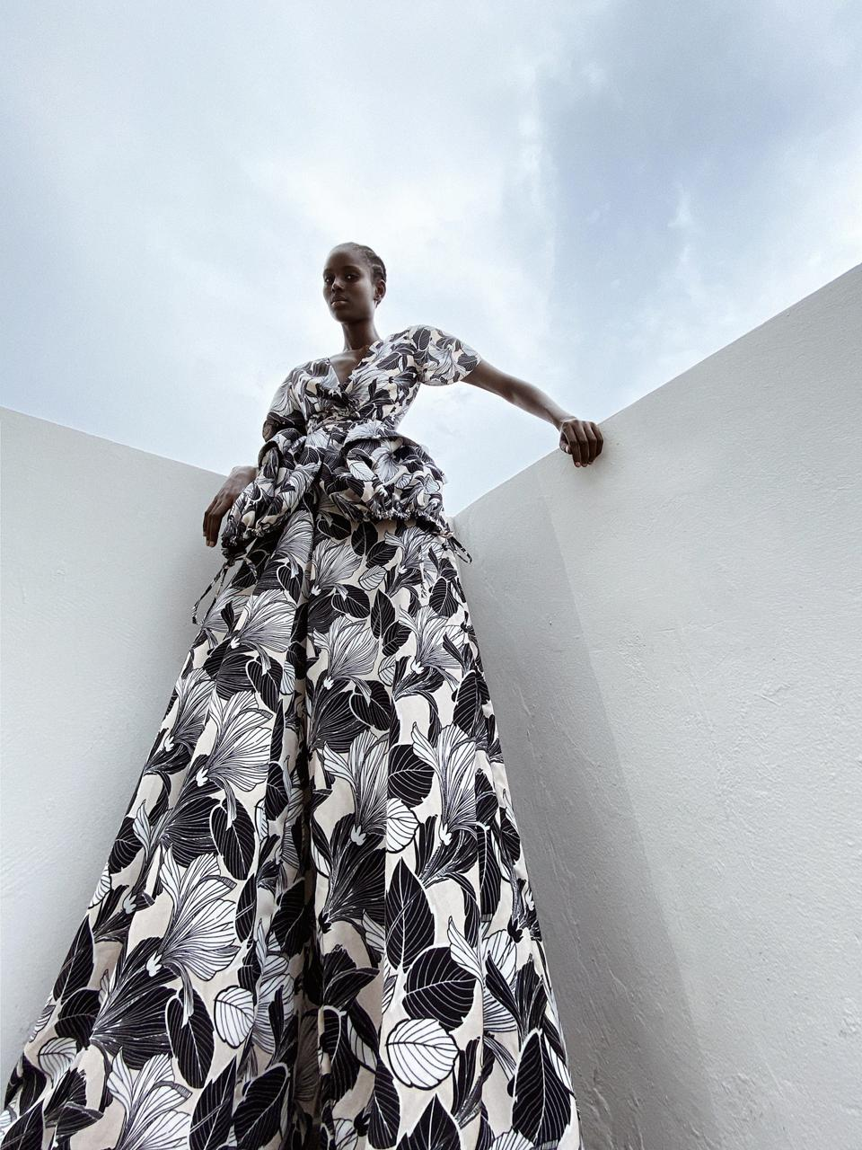 Black and white Folo wide leg trousers and top by TONGORO for INDUSTRIE AFRICA
