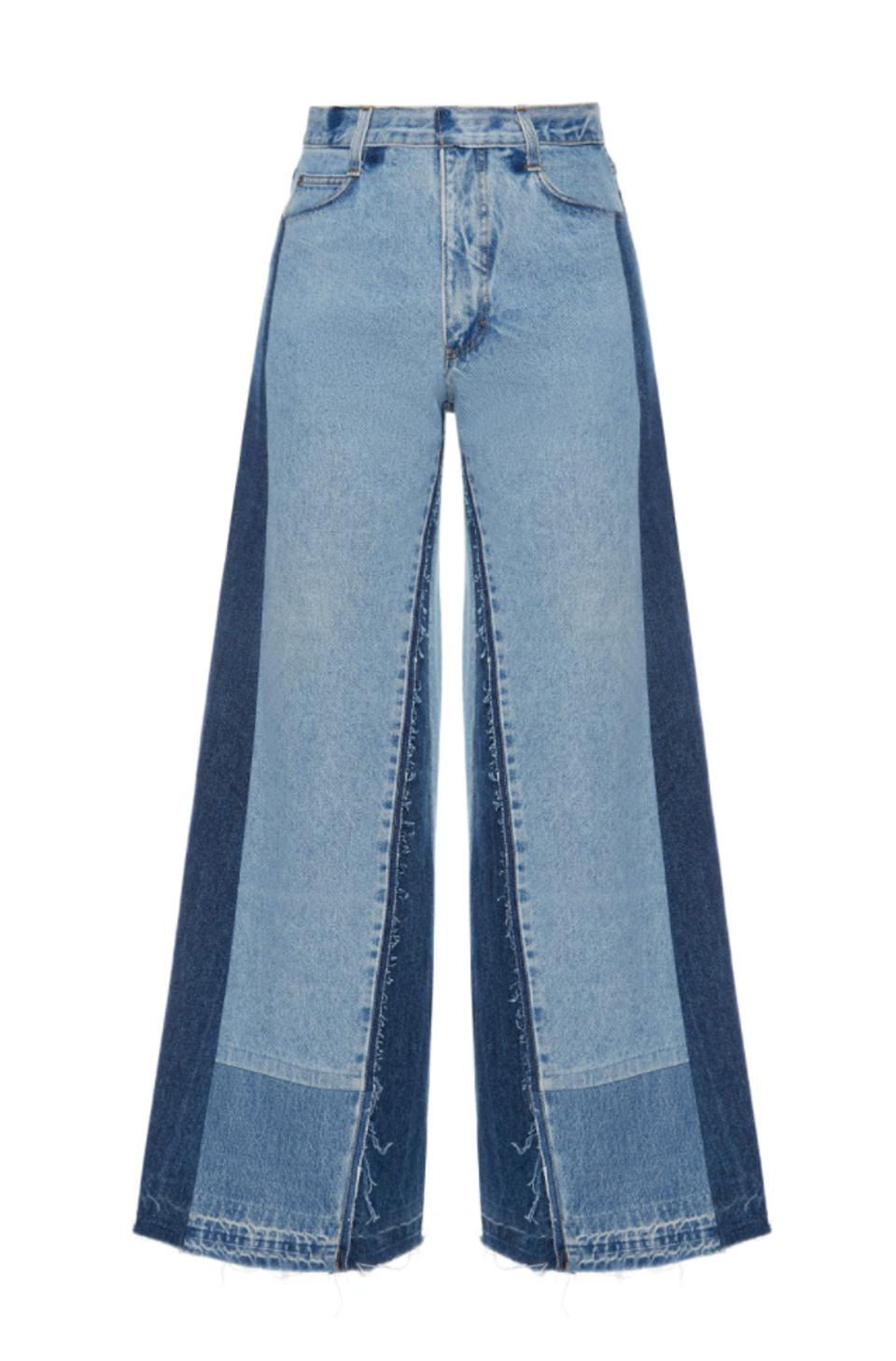 Sustainably crafted patchwork wide-leg denims by KSENAI SCHNAIDER