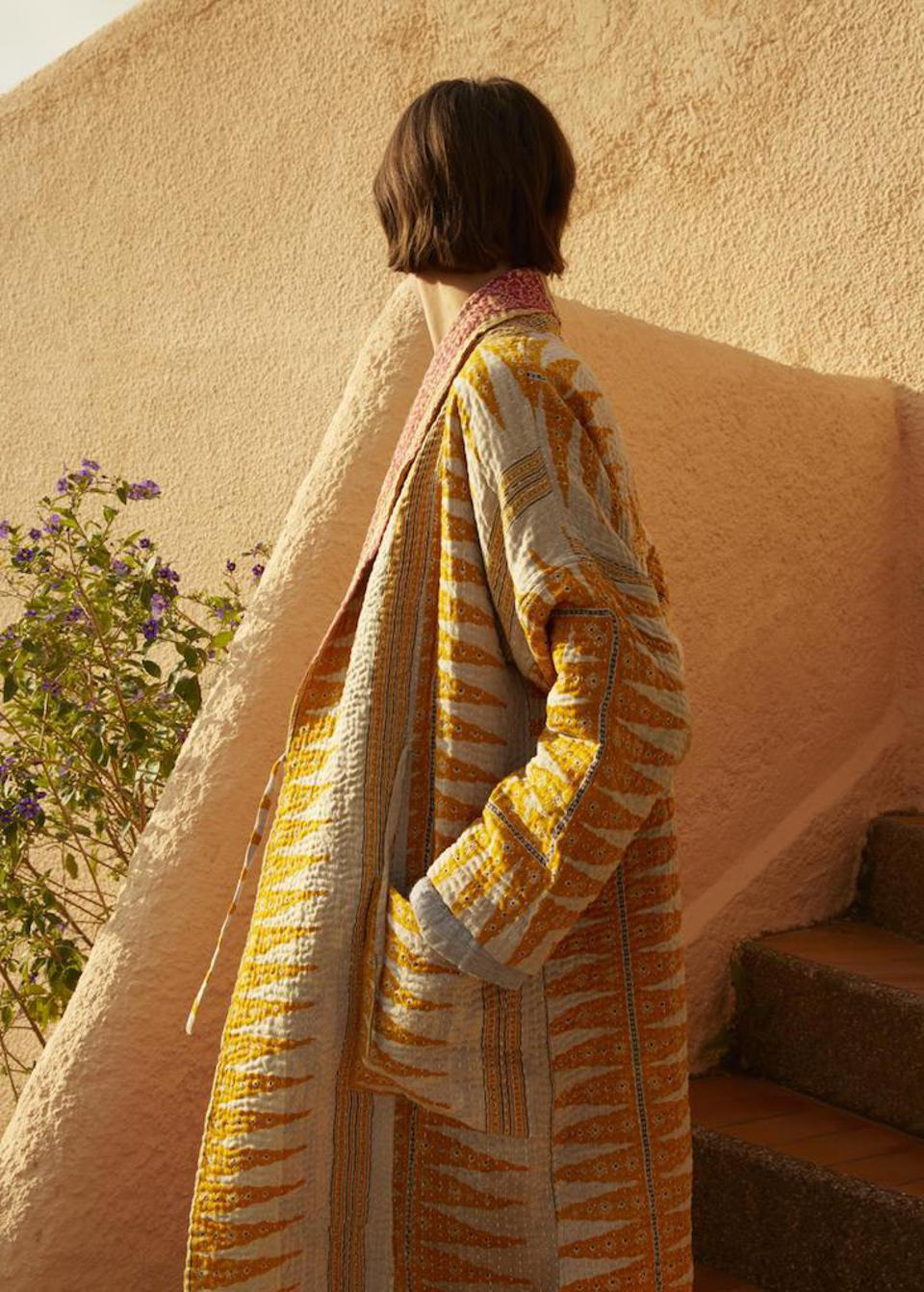 Embroidered Kantha gown by TOAST