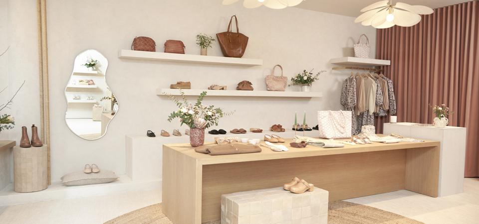 Loeffler Randall's SoHo store features natural wood, blush tones, mirrors and ceramic textures.
