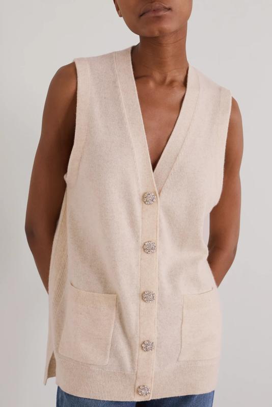 Ganni Crystal Embellished Cashmere Vest