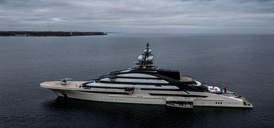 The ″tiny″ people on the bow provide a sense of just how big a 464-foot-long Superyacht is.