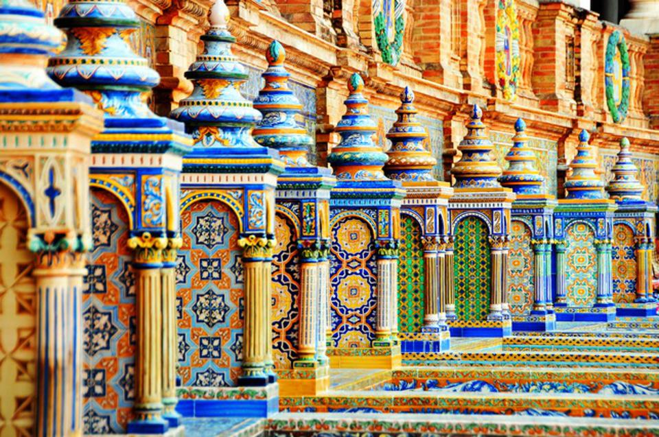 Ceramic balustrade in Seville, Andalusia, Spain
