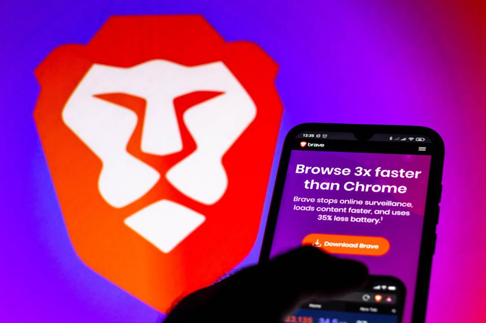In this photo illustration, a Brave Browser website is seen on a smartphone.