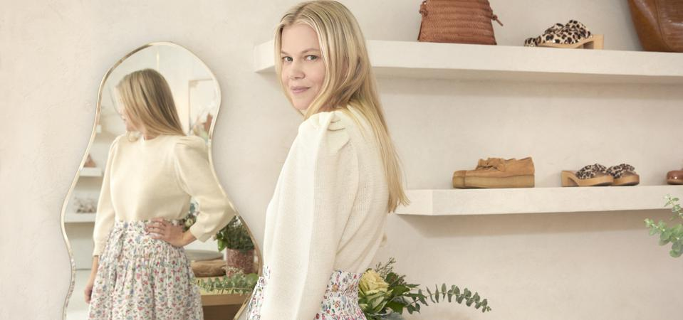 Designer and co-founder of Loeffler Randall Jesse Randall stands in her new Soho retail store.