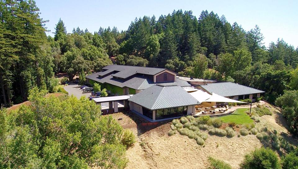 A bird's eye view of Gary Farrell Winery in Healdsburg, California.
