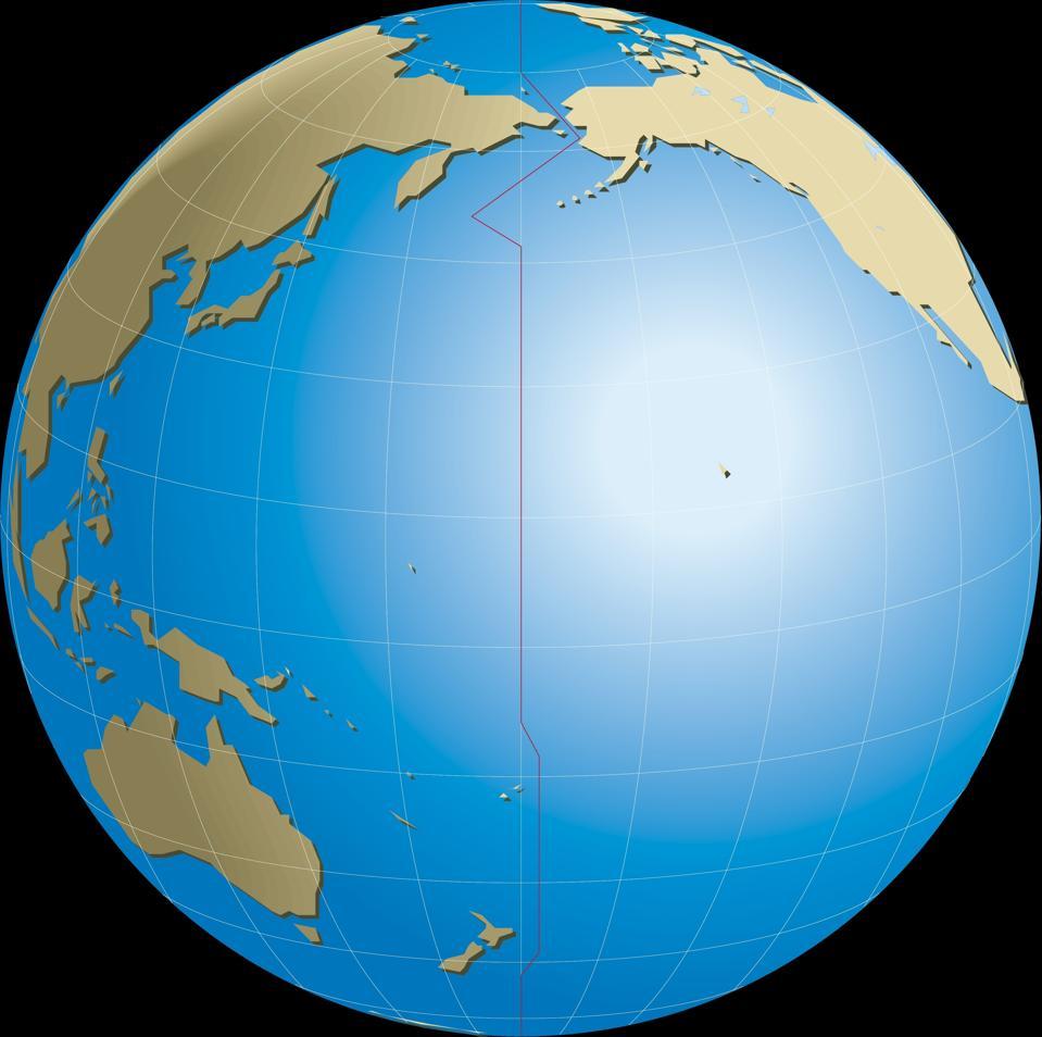 Diagram of Earth's International Date Line (IDL), opposite Prime (Greenwich) meridian.