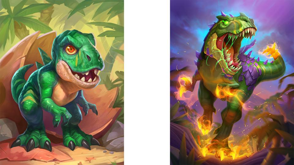 Art for one of the new Mercenaries, King Krush: left, as a baby, and right, after leveling up.