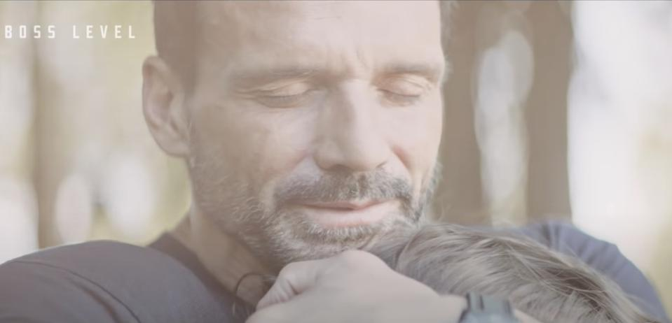 Frank Grillo and his son Rio, playing father and son Roy and Joe Pulver, in ″Boss Level.″