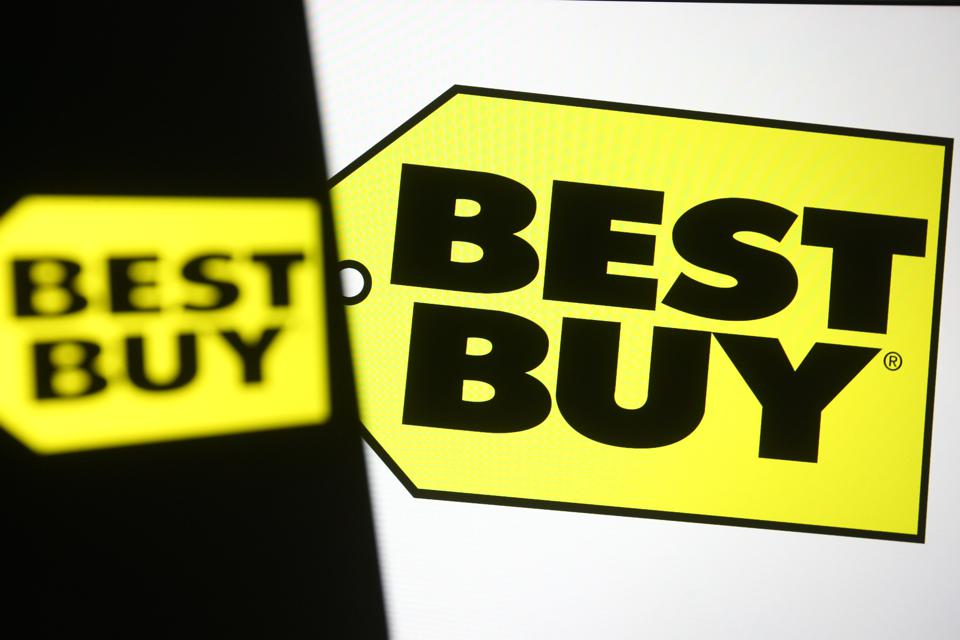 In this photo illustration the Best Buy logo of a US...