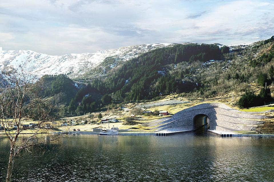 An illustration of the ship tunnel entrance in Norway.