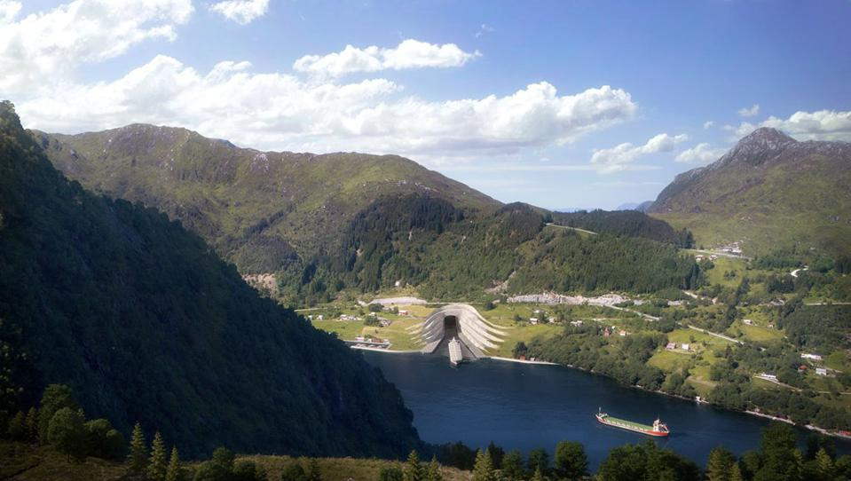 Illustration of proposed ship tunnel entrance in western Norway.
