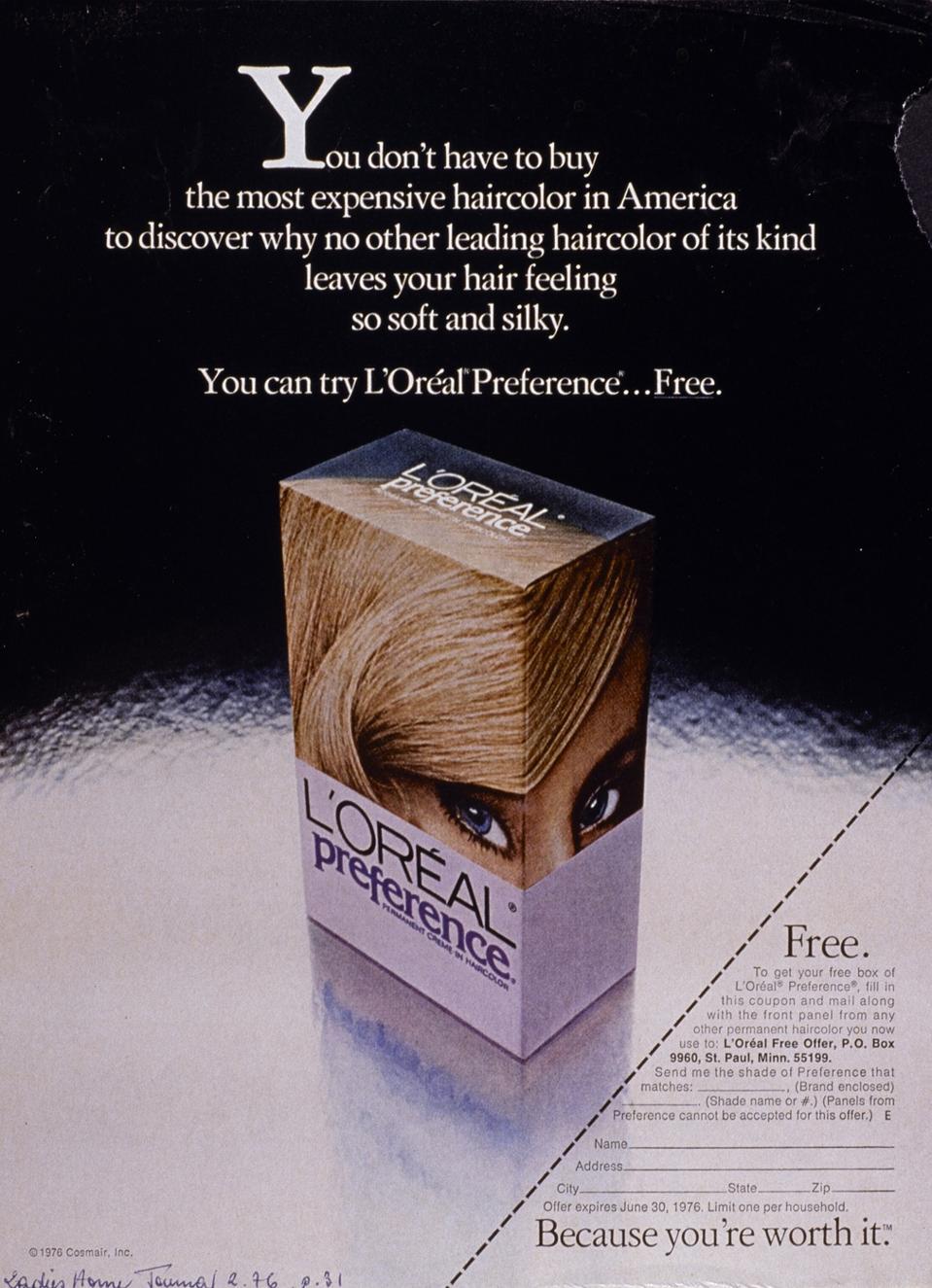 A vintage L'Oréal Paris ad from 1976