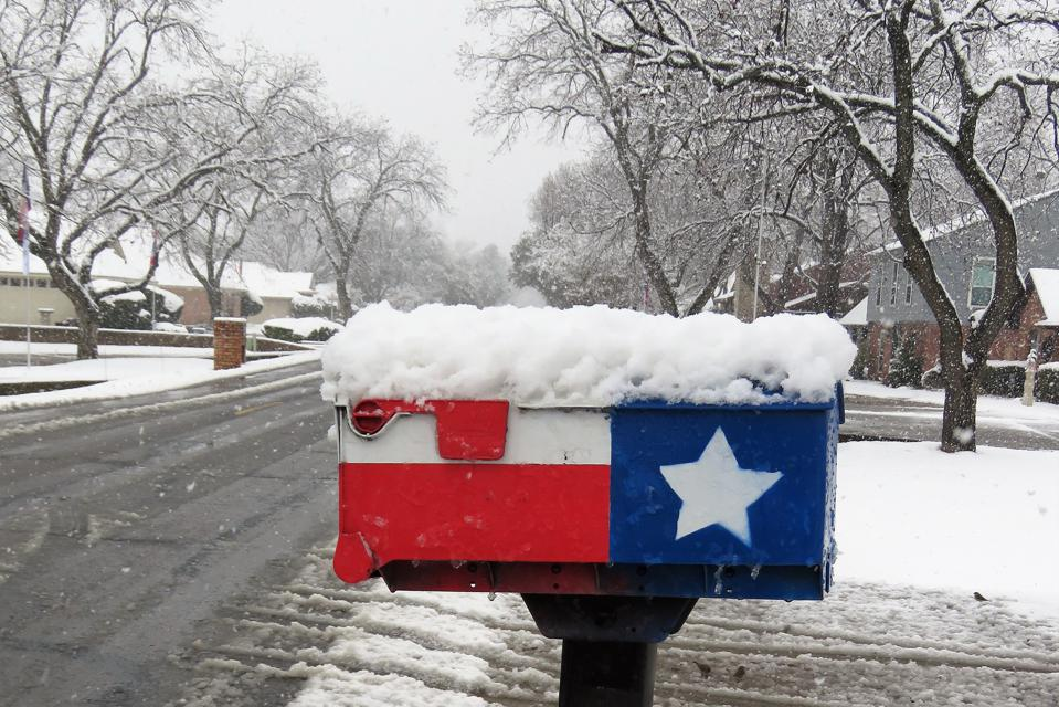 Snow-Covered Mailbox in Texas Flag style