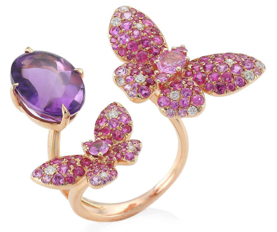 Stefere Butterfly 18K Rose Gold, Amethyst, Pink Sapphire & White Diamond Open Ring Specification: Stefere Butterfly 18K Rose Gold, Amethyst, Pink Sapphire & White Diamond Open Ring, $ 5,890