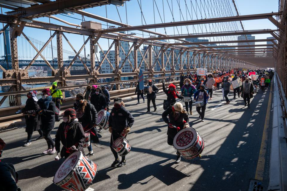 Activists March Across Brooklyn Bridge Demanding Funding For Excluded Workers In NY State Budget