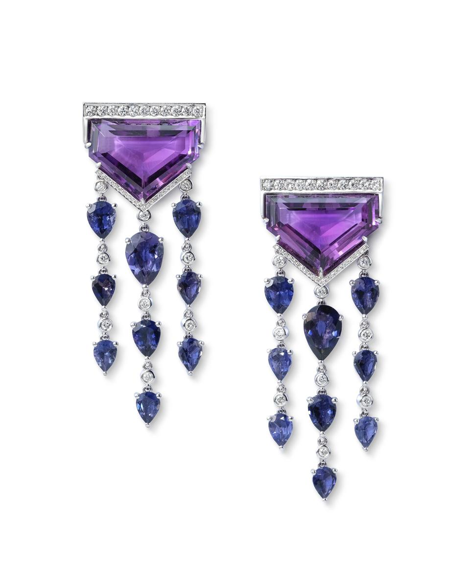One-of-a-kind amethyst, iolite and diamond earrings by Sabine Roemer.