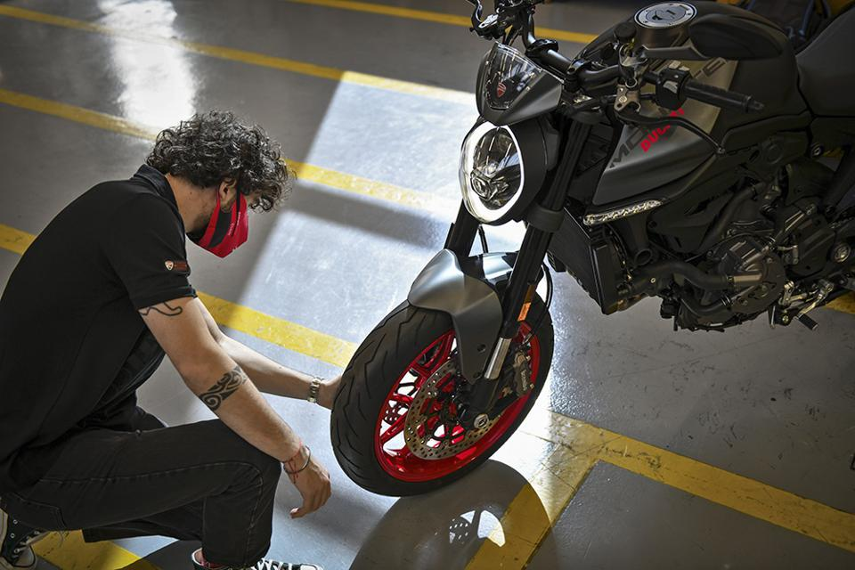 Ducati's new Monster gets an inspection in Bologna.