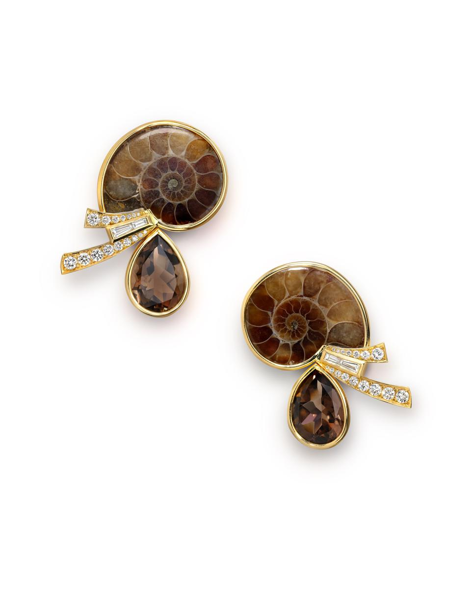 Diamond, ammonite fossil and smoky quartz earrings by Sabine Roemer