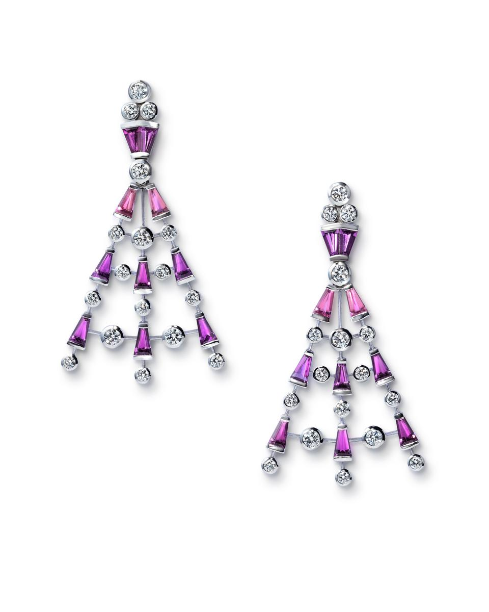 Pink and violet tourmaline earrings with diamonds by master jeweler Sabine Roemer.