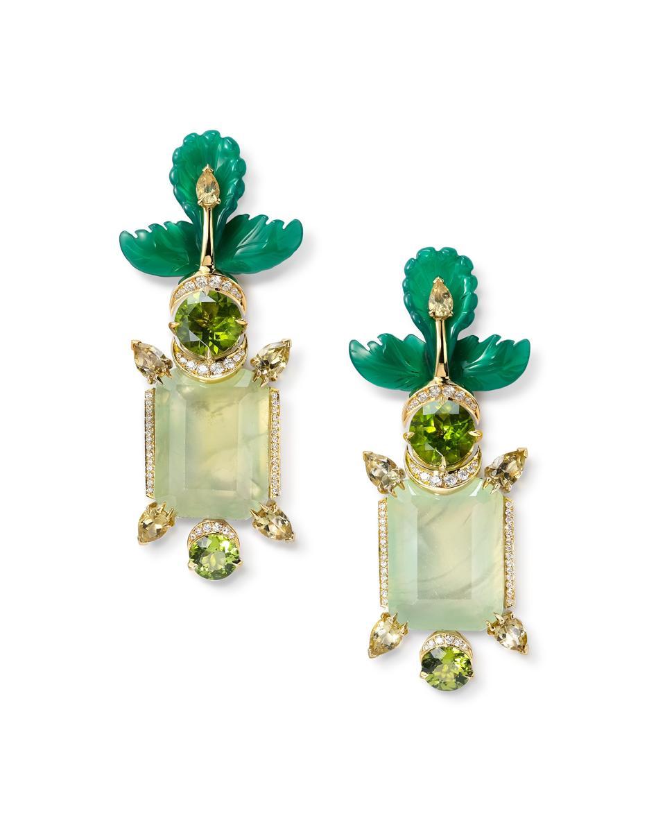 Prehnite earrings with hand-carved green agate leaves, peridot & diamonds.