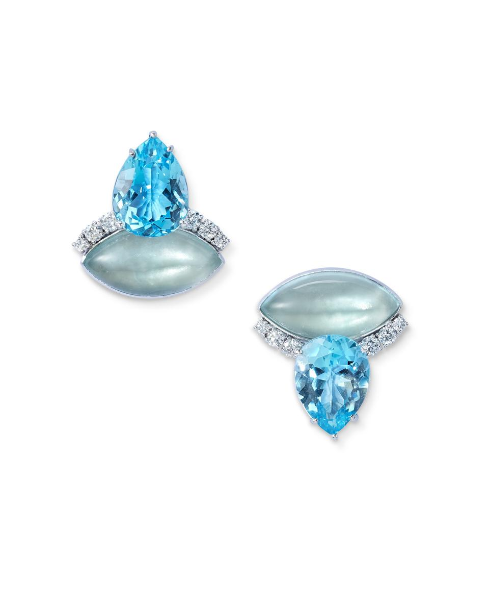 18-karat gold, aquamarine, diamond and London blue topaz earrings by Sabine Roemer.