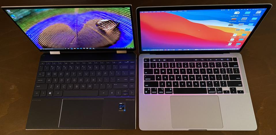 HP Spectre x360 14 (L) is slightly less-wide than the 13-inch MacBook Pro M1.