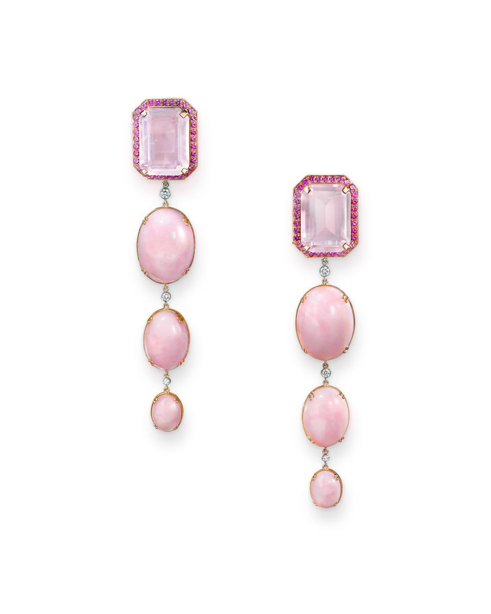 18-karat rose gold, rose quartz, pink opal and white diamond earrings by Sabine Roemer.
