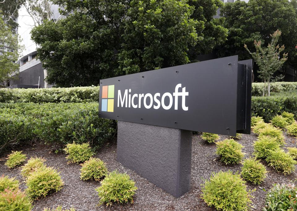 Microsoft corporate logo seen on sign