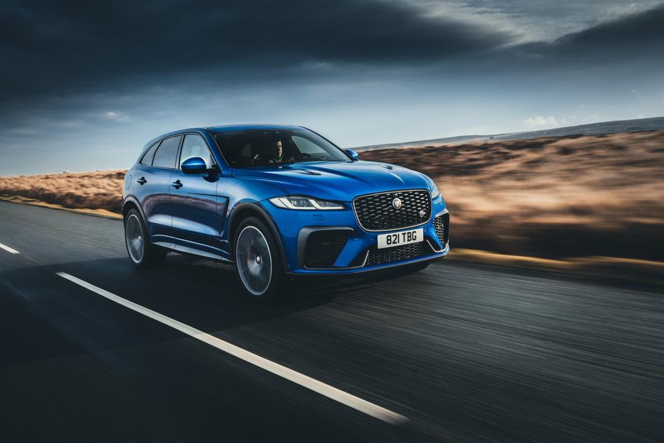 Front three-quarter view of the 2021 Jaguar F-Pace SVR in blue