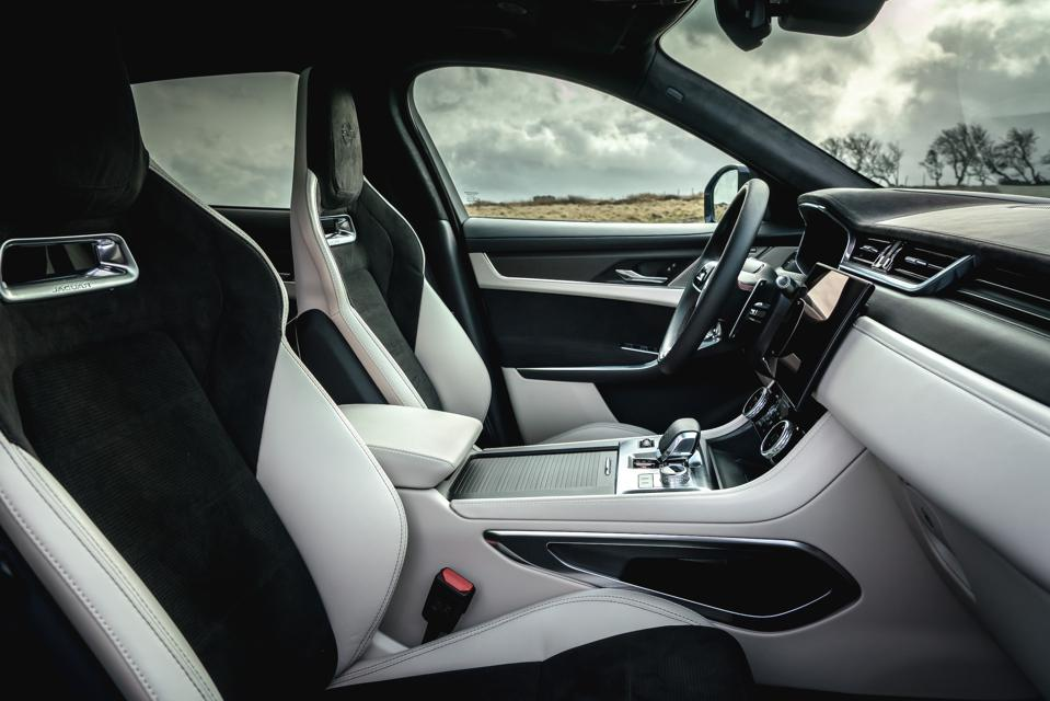 Interior and seats of the 2021 Jaguar F-Pace SVR