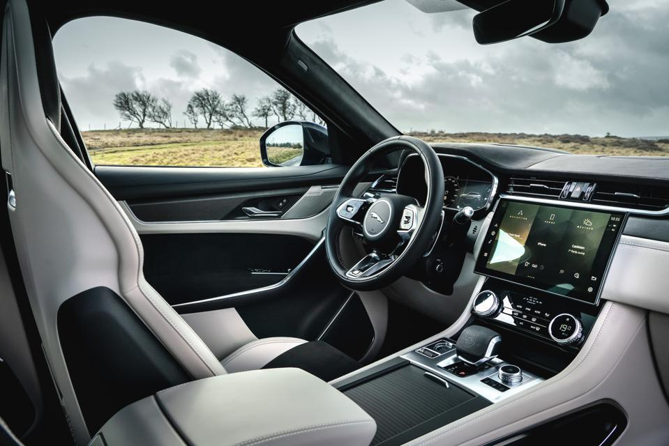 Interior and dashboard of the 2021 Jaguar F-Pace SVR