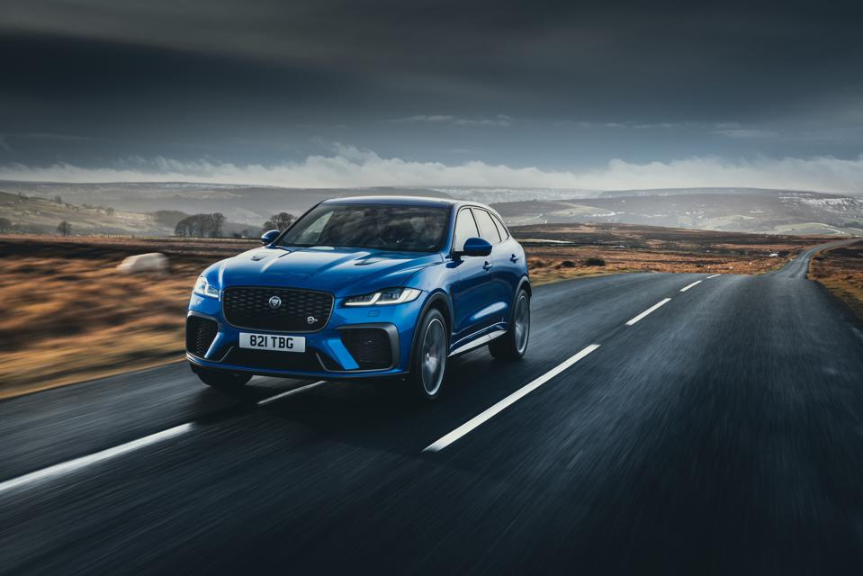 Front three-quarter view of a blue 2021 Jaguar F-Pace SVR