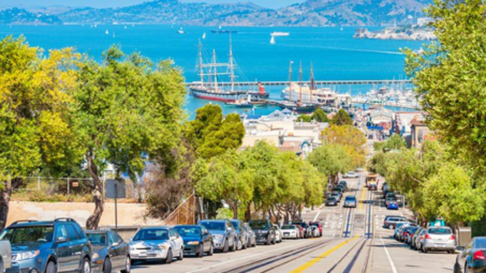 Hyde street and San Francisco Bay in San Francisco California