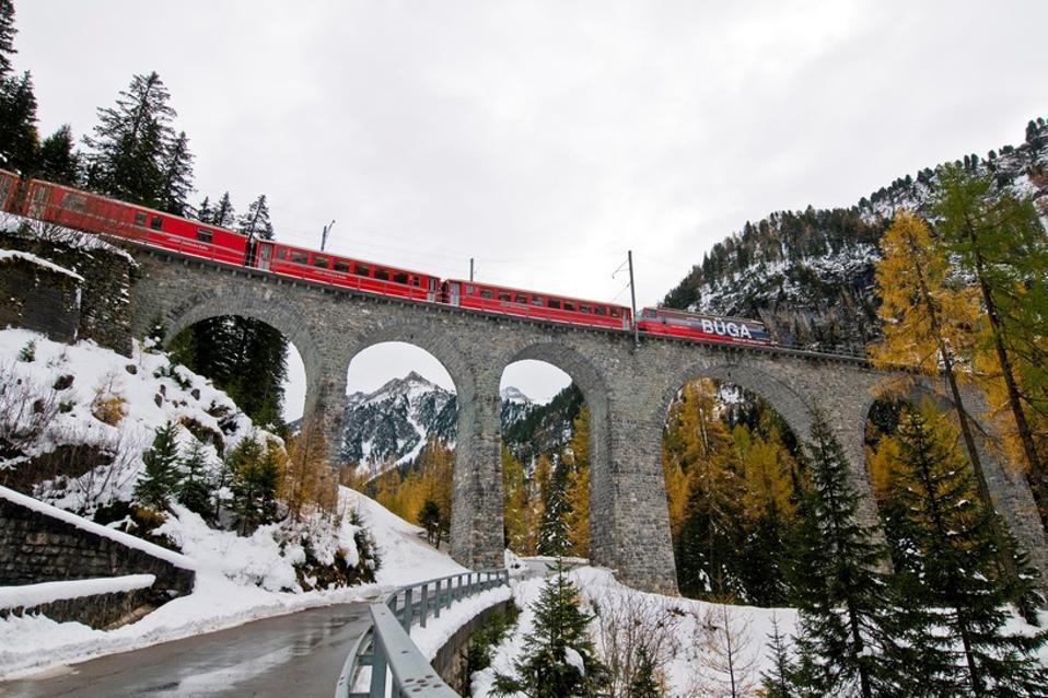 Switzerland. Albula Pass. Glacier Express Train