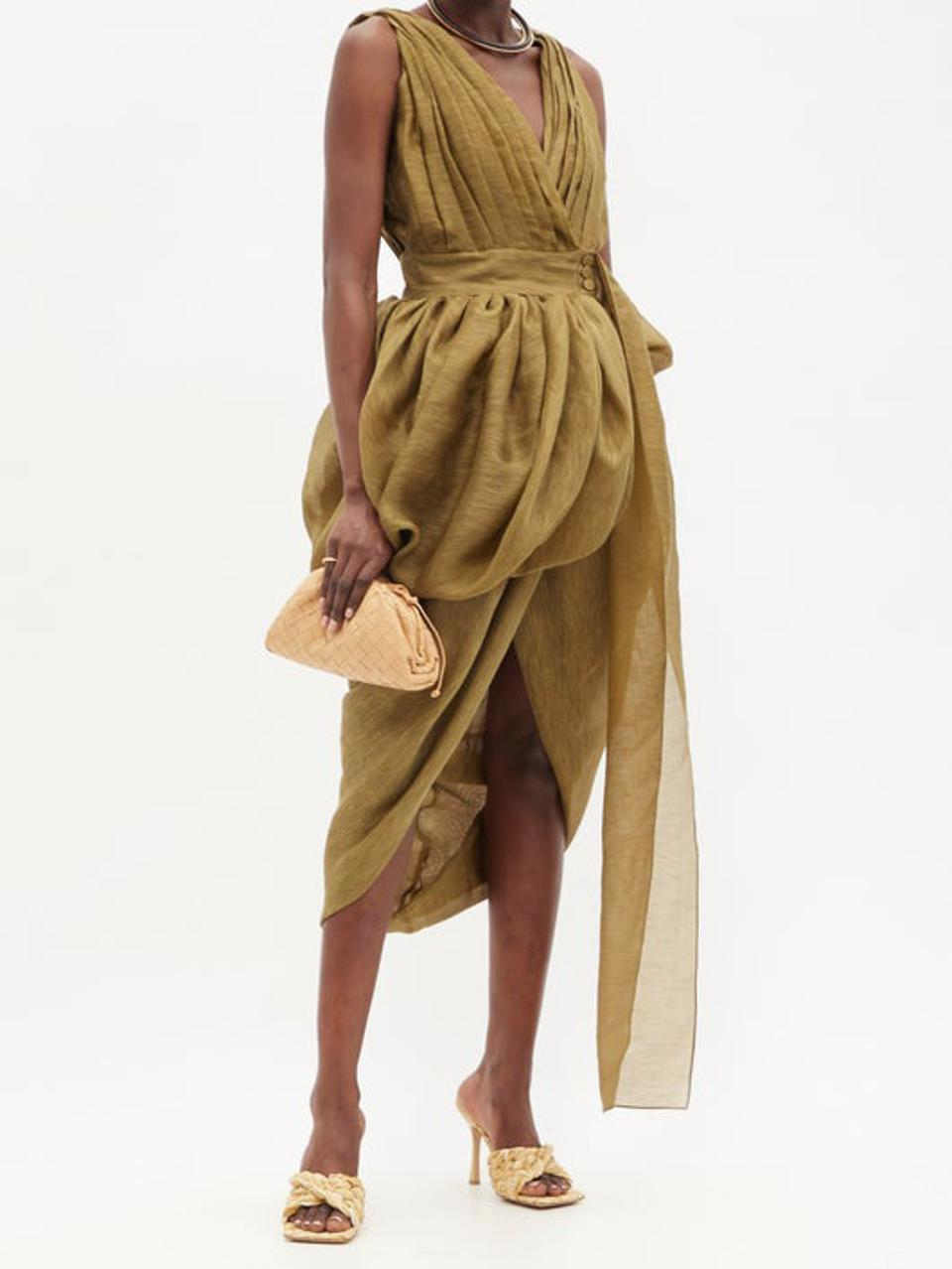 Draped Linen-Blend Voile Dress by Altuzarra: