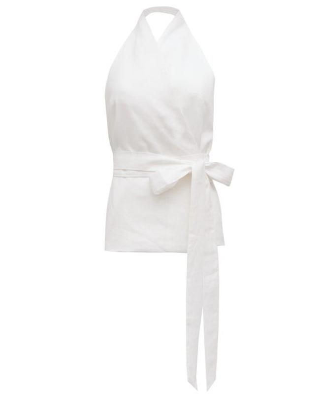 Piccolo Halterneck Linen Wrap Top by Albus Lumen: