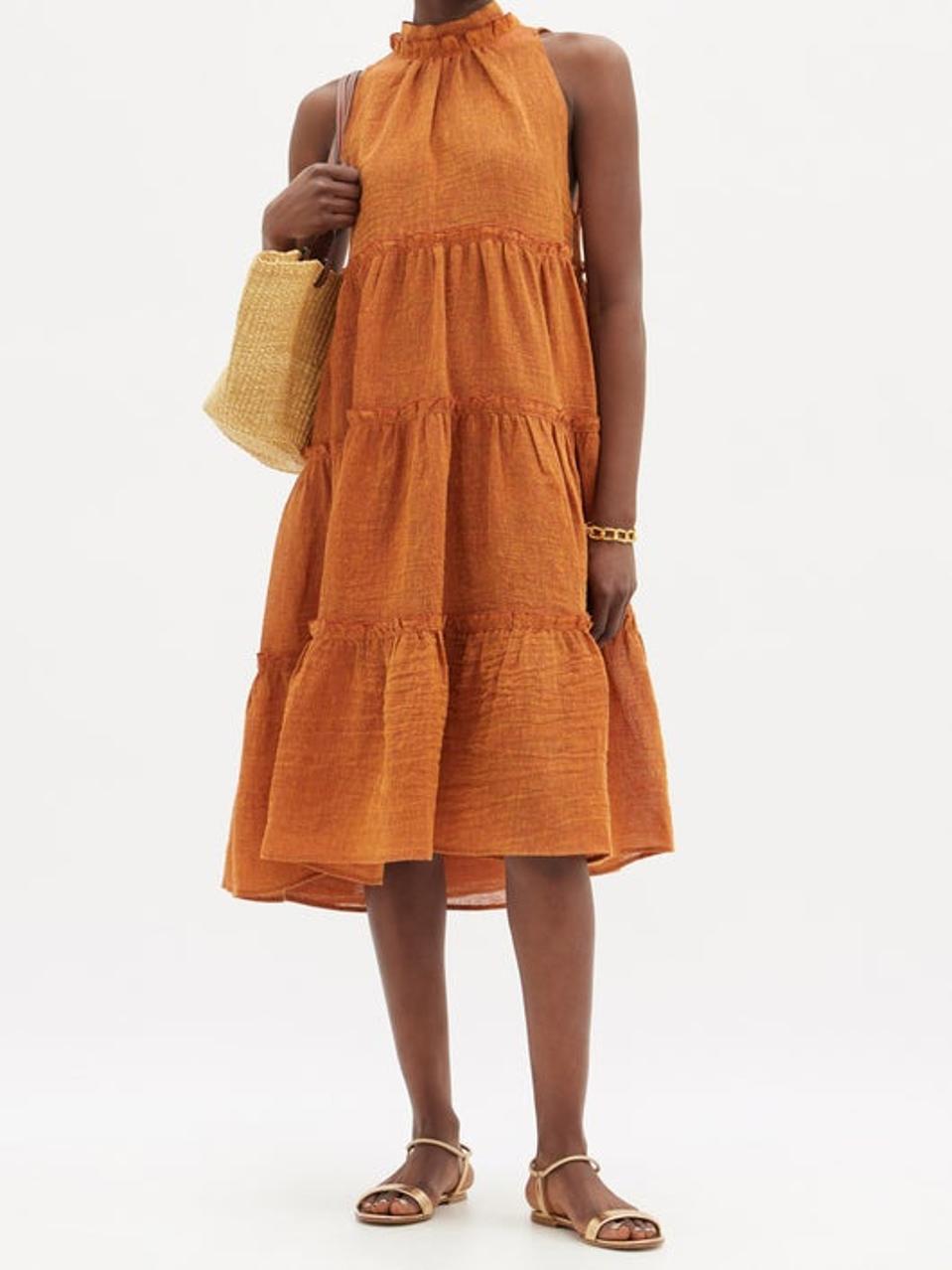 Erica Tiered Linen-Blend Dress by Lisa Marie Fernandez