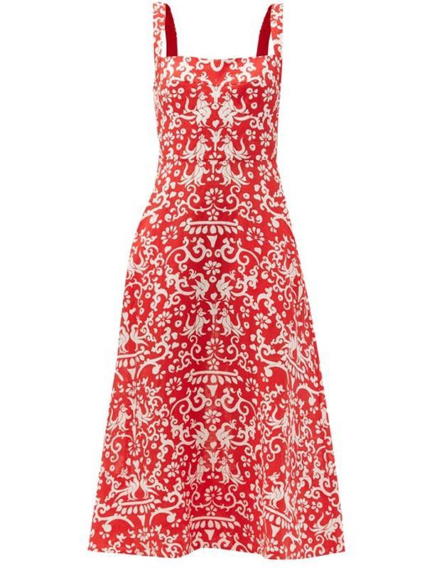 Rachel Chilli Phoenix-Print Linen Midi Dress by Saloni