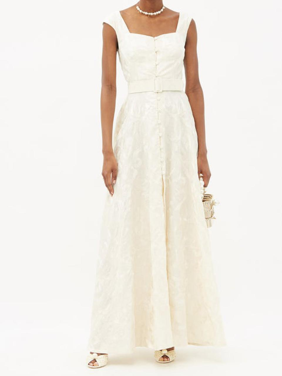 Belted Floral-Embroidered Linen Gown by Marta Ferri