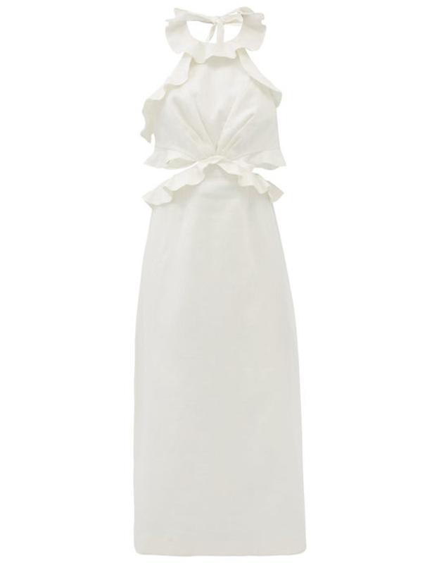 Lovestruck Halterneck Flounced Linen Dress by Zimmermann