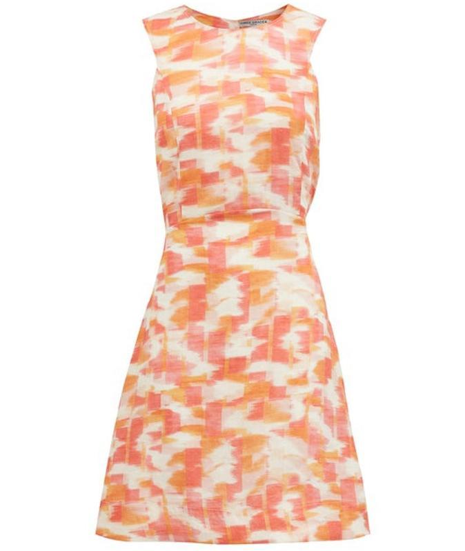 Trini Abstract Ikat-Print Cutout Linen Mini Dress by Three Graces London
