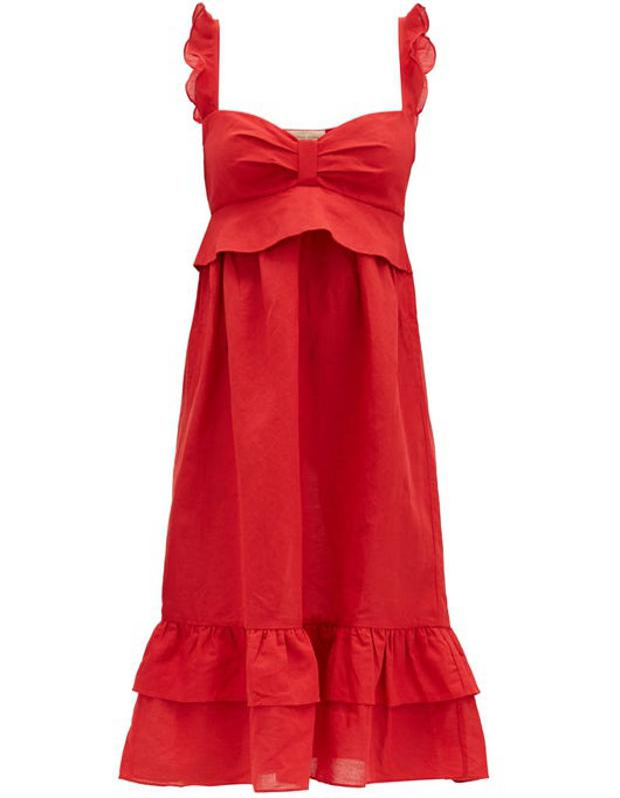 Flounced Linen-Blend Midi Dress by Adriana Degreas: