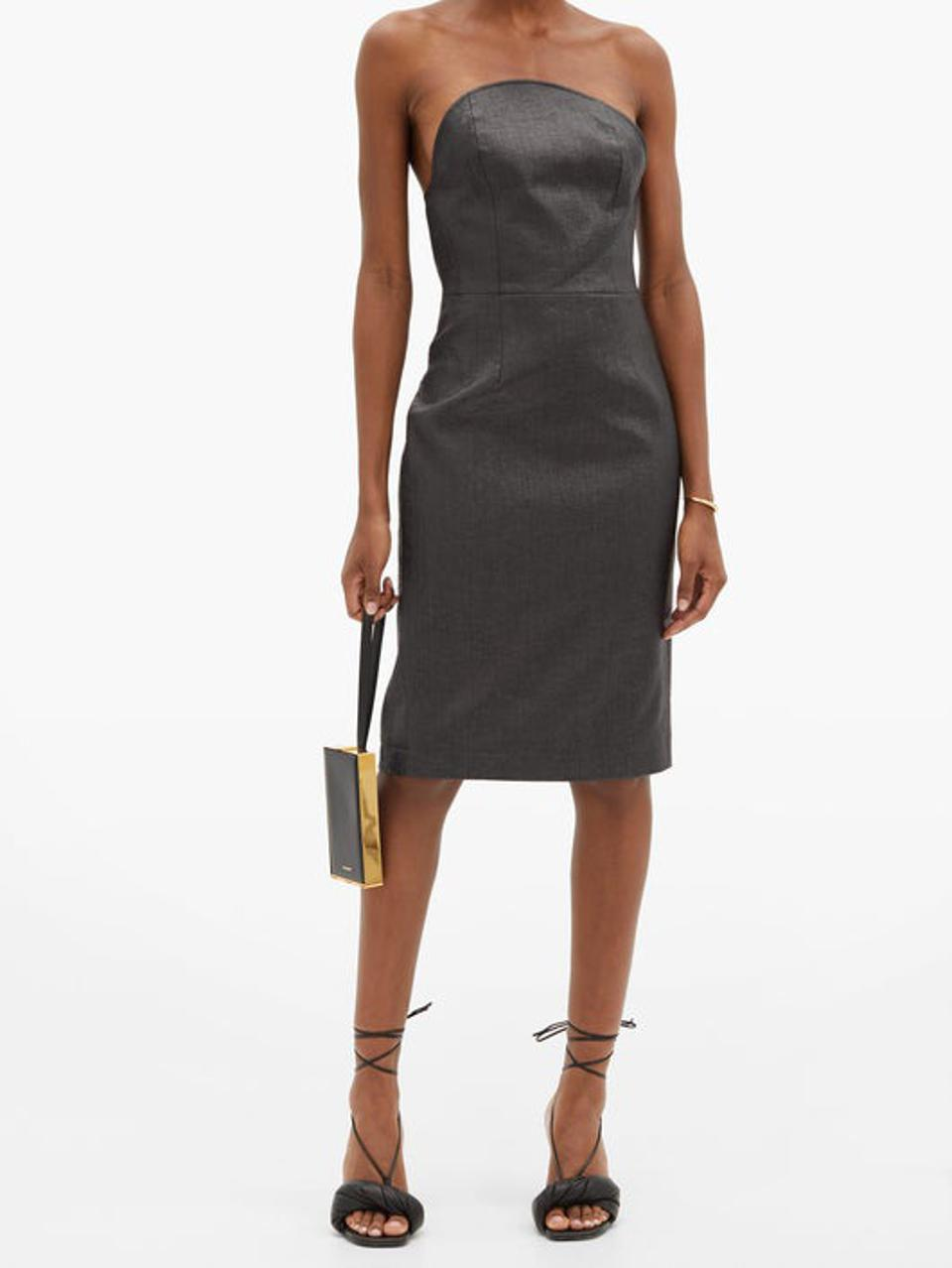 Lady Godiva Coated-Linen Bustier Dress by Duncan