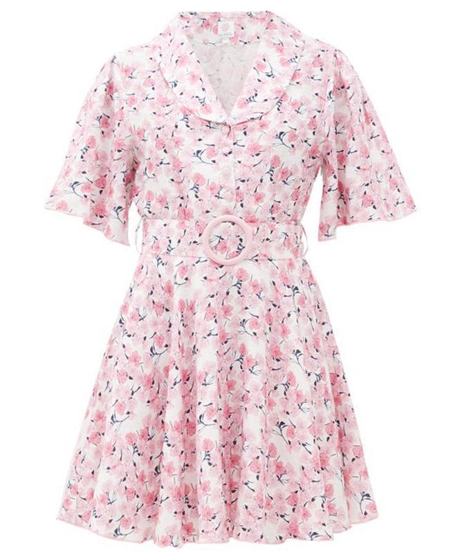 Belted Floral-Print Linen Mini Dress by Gül Hürgel