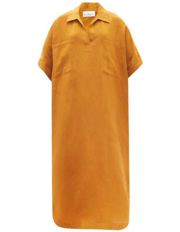 Patch-Pocket Linen Smock Dress by Raey