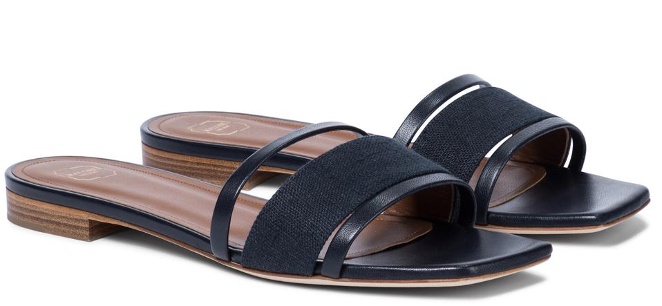 Demi Linen and Leather Sandals by Malone Souliers